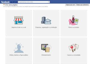 como criar uma pagina no Facebook